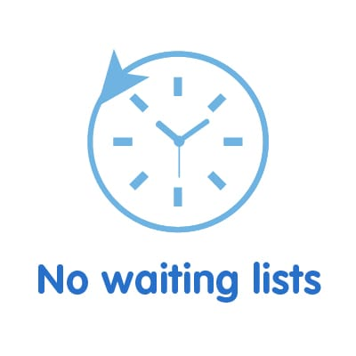 We'll never make you wait longer than two weeks for an appointment.